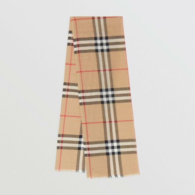 $610 Authentic BNWT BURBERRY Giant Check Gauze Wool/Silk Mens/Womens Scarf Beige