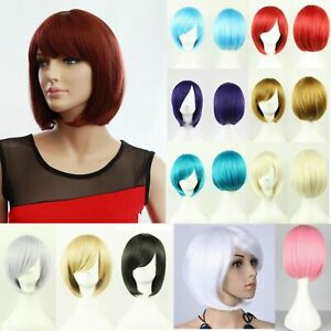 Womens Short 30cm Straight Synthetic BOB Wigs w Side Bangs Cosplay Costume Party