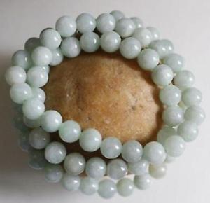 8mm  Certified Natural Untreated Light Green Jadeite Jade Round Beads Necklace