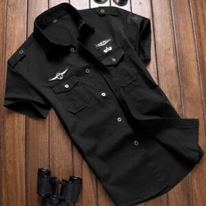 Summer-Men-039-s-Short-Sleeve-Military-Shirts-Army-Casual-Cotton-T-Shirts-Tops