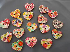 8 X HEART SHAPED WOODEN FRIDGE MAGNET RANDOM MIXED