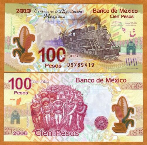Commemorative Polymer P-128 UNC /> Train 2007 2010 100 Pesos Mexico