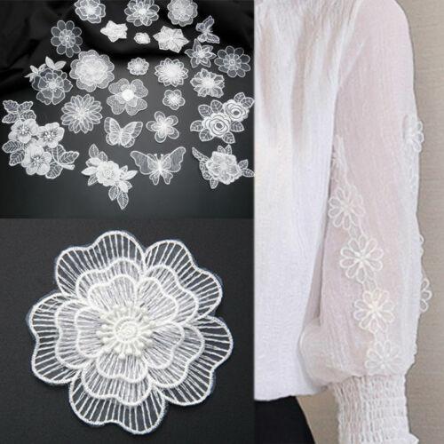 1-10Pcs 3D Lace Flower Patch Applique Trim Iron On Patch Badge DIY Sewing Decor