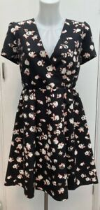BNWOT-New-Designer-Jaeger-Boutique-Black-Pink-Floral-Occasion-Mini-Dress-Size-10