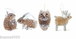 GISELA-GRAHAM-BRISTLE-BUNNY-RABBIT-MOUSE-OWL-GLITTER-CHRISTMAS-TREE-DECORATIONS