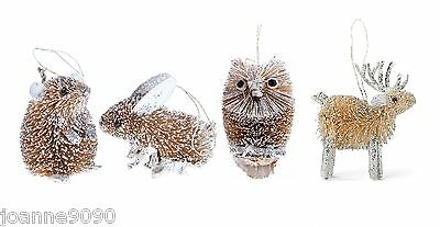 GISELA GRAHAM BRISTLE BUNNY RABBIT MOUSE OWL GLITTER CHRISTMAS TREE DECORATIONS