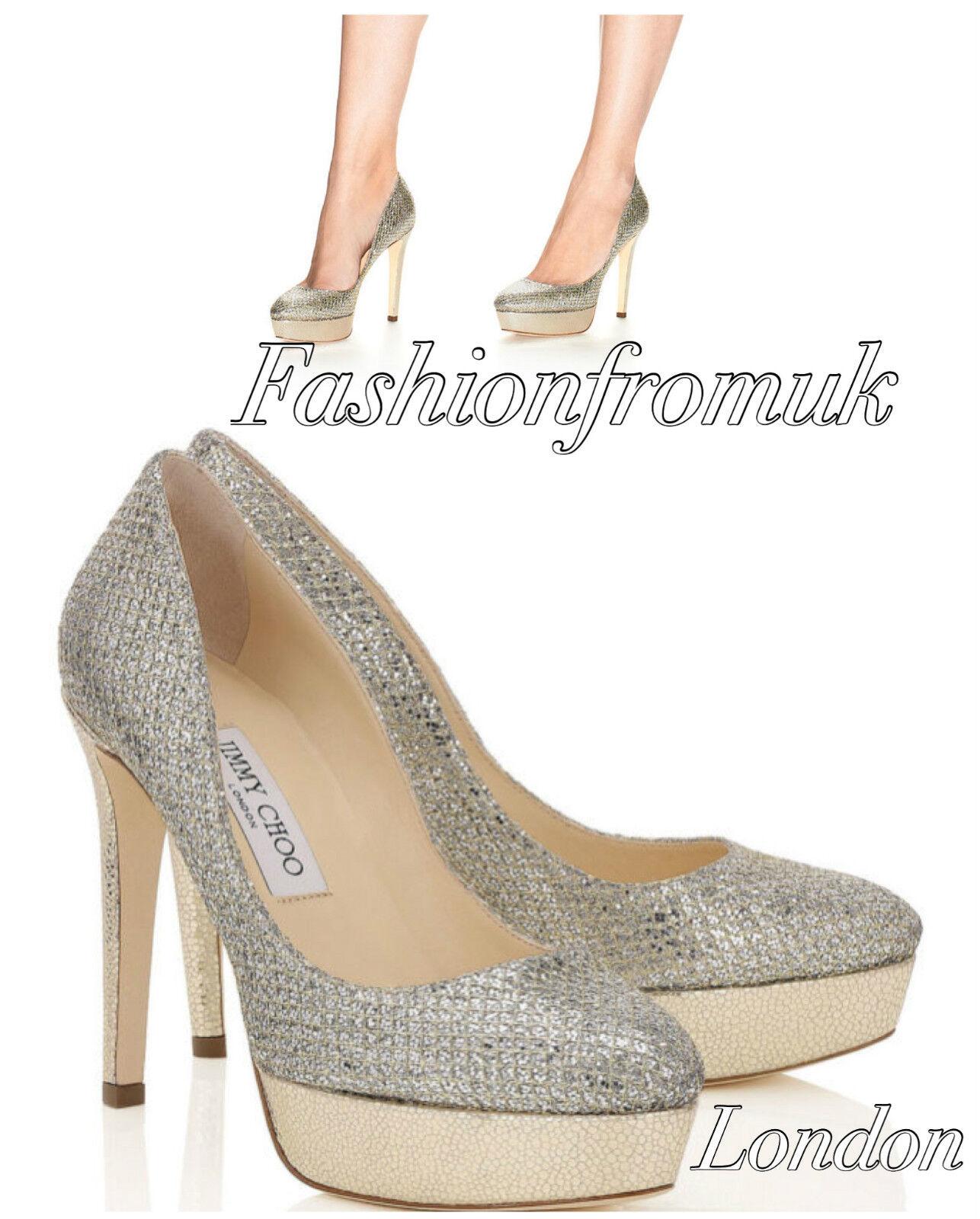 Jimmy Choo ALEX Champagne glitter  Platform pumps sz 40