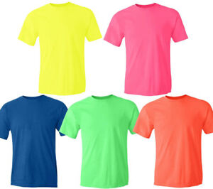 3710534fba9b3 Image is loading WHOLESALE-Gildan-NEON-Cotton-T-Shirt-Fluorescent-Color-