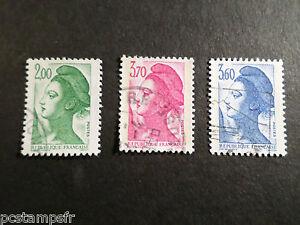 FRANCE-1987-timbres-2484-2486-Liberte-obliteres