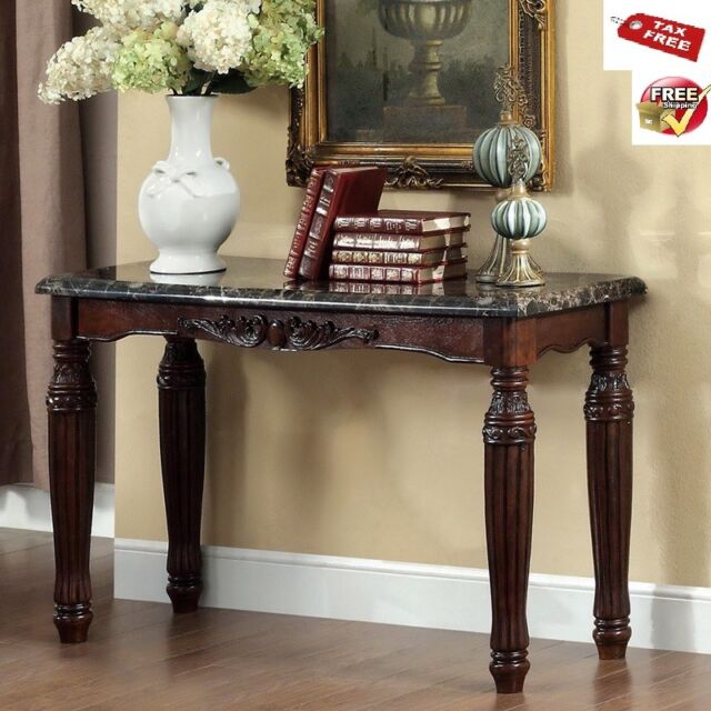Wood Console Table Faux Marble Top Sofa