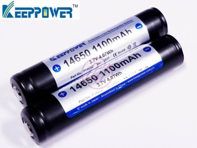 Keeppower 14650 1100mAh 3.7v Protected Rechargeable Battery x2 P1465C