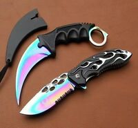 Titanium Karambit Hunting Neck Knife & Spring Assisted P/knife [aj9508 & 7524]