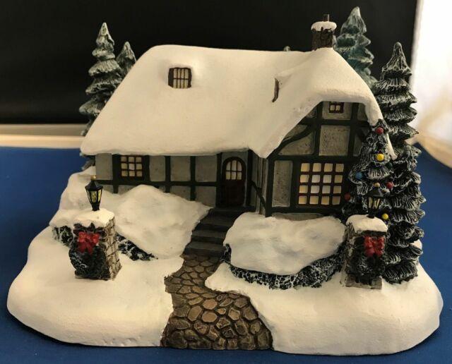 Christmas Houses Village.New Thomas Kinkade 79756 Christmas Cottage House Home Hawthorne Village 2002 Nib