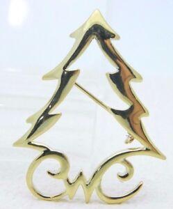 Vintage-NOS-Gold-Tone-Abstract-Christmas-X-Mas-Tree-Pin-Brooch