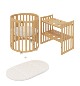 Gitterbett Babybett Komplett Set Kinderbett 60x120cm UMBAUBAR weiß-braun Gravur