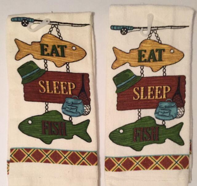 Ritz Woodland Eat Sleep Fish kitchen dish towels Set of 2
