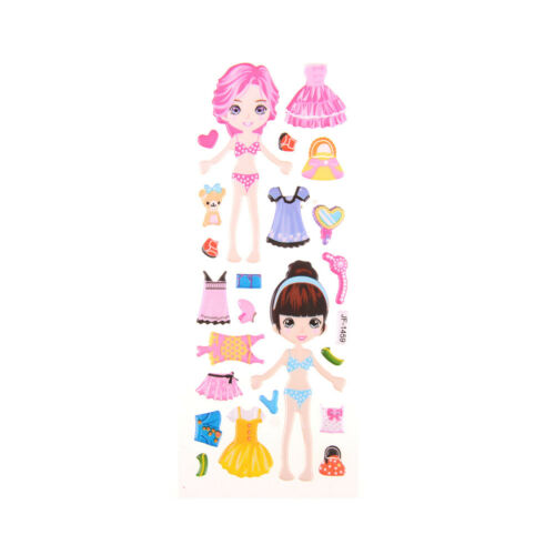 5x DIY Princess Dress Stickers Lovely Girl Dress up Changing Clothes Kids Toy#6
