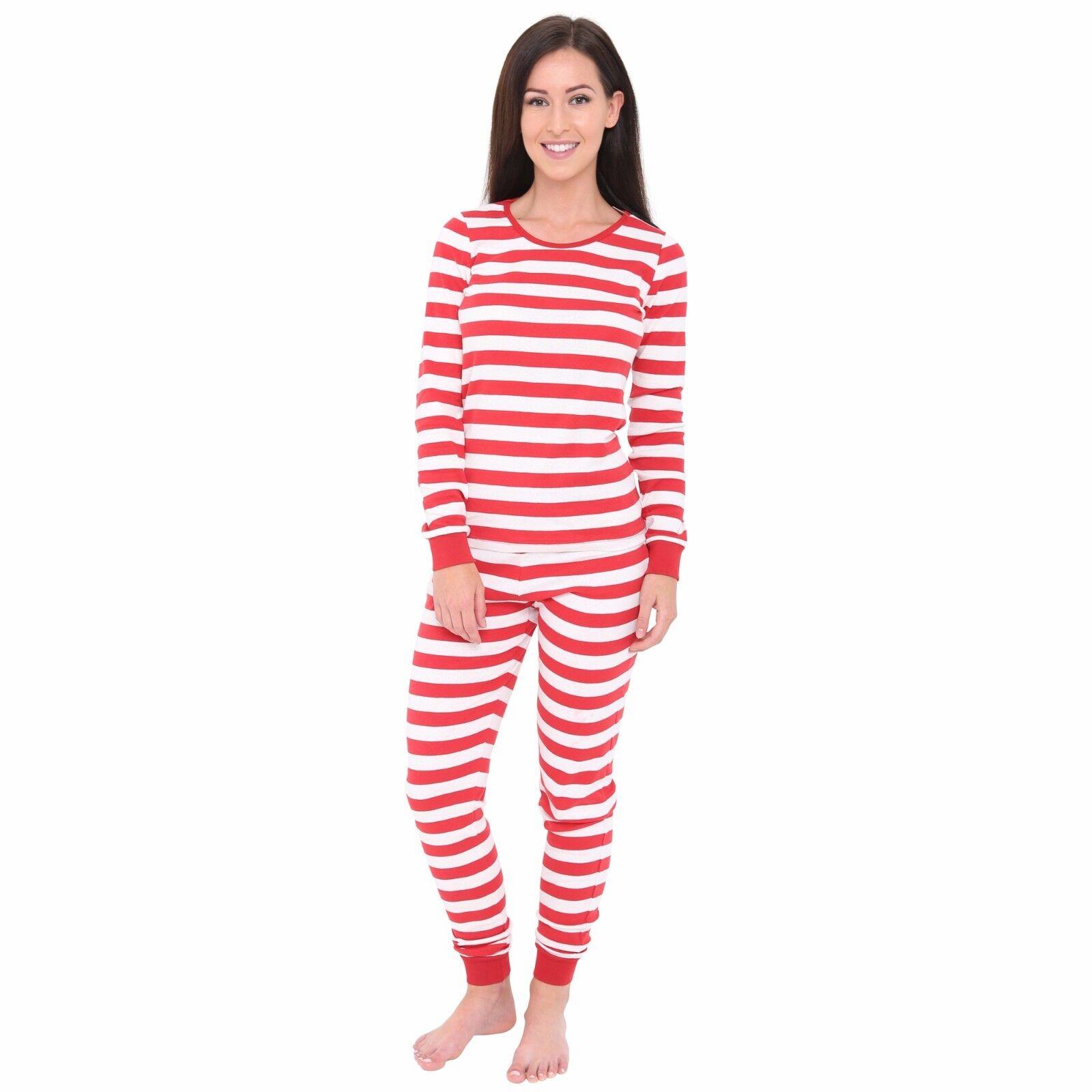 74143bbb16 Details about Women's Long Sleeve Fitted Striped Casual Jersey PJ 2 Piece  Pajama Set Sleepwear