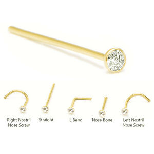 Bioflex Nose Screw 1.5mm or 2mm Solid 14K Yellow Gold Ball 18G