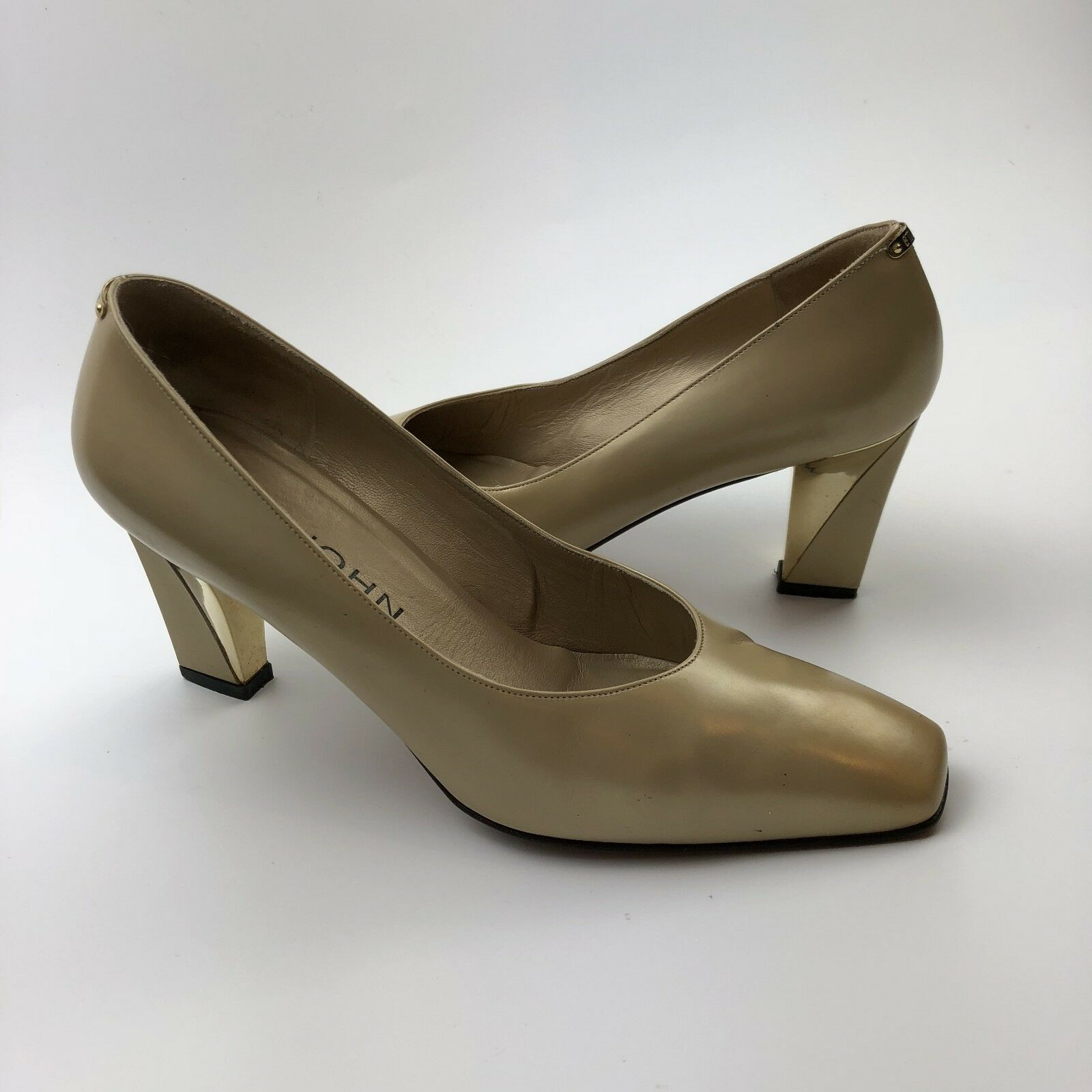 St. John Pumps Size 8B Womens Leather gold Square Toe Block Heel shoes 84022