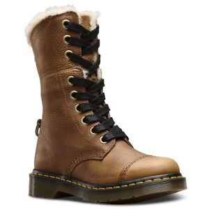 9bce522b4c9 Details about Dr.Martens Aimilita 9-Eyelet Fur Lined Tan Womens Grizzly  Lace-up Combat Boots