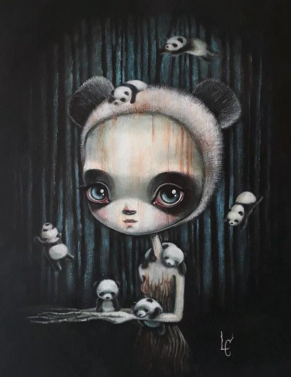 Acrylic painting. Laura Farbes. 64 Farbes. Surrealism. Kidrobot dunny. Tree girl