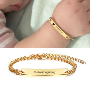 Kid Child Baby Id Name Bar Bracelet