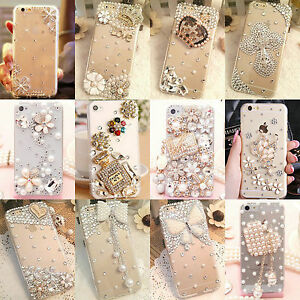 Luxury-3D-Handmade-Jewelled-Pearl-Crystals-Diamond-Case-Cover-For-iPhone-Samsung