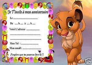 Détails Sur 5 Cartes Invitation Anniversaire Le Roi Lion 02