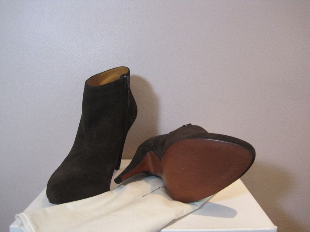 Balenciaga Brown Brown Brown Suede Ankle Zip Boots Booties  725 38 8 1a4d25