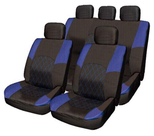 Citroen C1 C2 C3 C4 C5 C6 BLUE /& BLACK Cloth Seat Cover Full Set Split Rear Seat