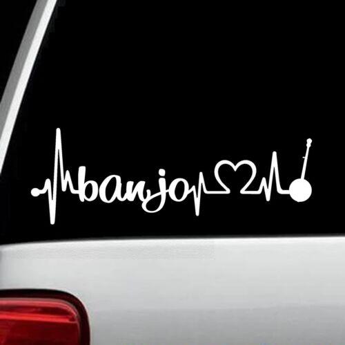 Banjo Heartbeat Lifeline Decal Sticker Car Window BG125 Guitar Fiddle Mandolin