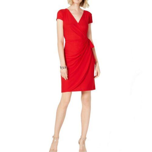 INC-NEW-Women-039-s-Solid-Red-Cap-sleeve-Ruffled-Wrap-Dress-L-TEDO