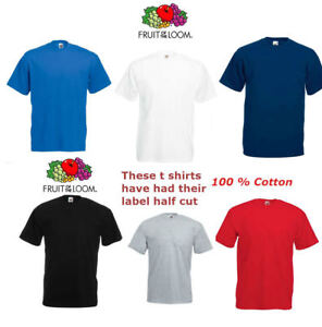 Mens Plain Quality Fruit of the Loom Weight Cotton Round Neck T Shirt Small- 5XL