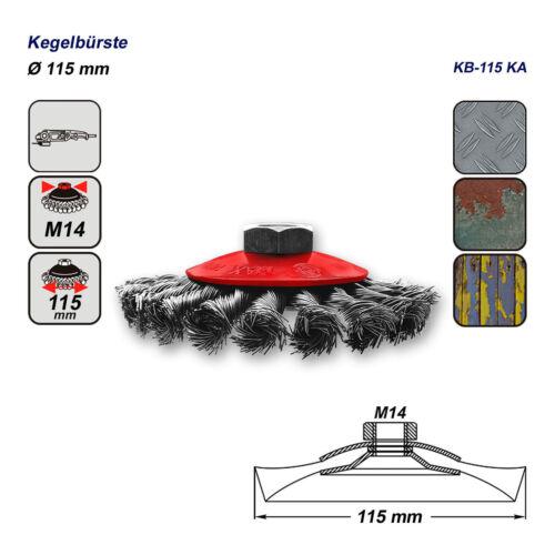 2 x  Drahtbürste für Winkelschleifer Kegelbürste gezopft M14 Ø 115 mm