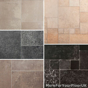 Sensational Details About Tile Effect Vinyl Flooring Roll Quality Lino Anti Slip Kitchen Bathroom 2M 3M 4M Beutiful Home Inspiration Aditmahrainfo