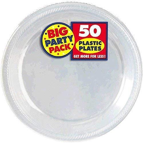 26cm placas de plástico transparente Amscan 50