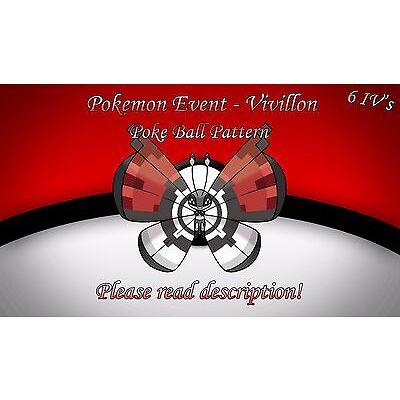 Vivillon Poke Ball Pattern Pokémon Center Paris Event 6 IV + Item