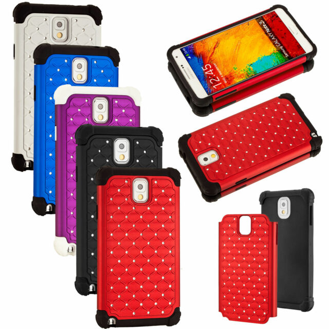 For Samsung Galaxy Note 3 N9000 Hybrid Hard Diamond Bling Rhinestone Case Cover