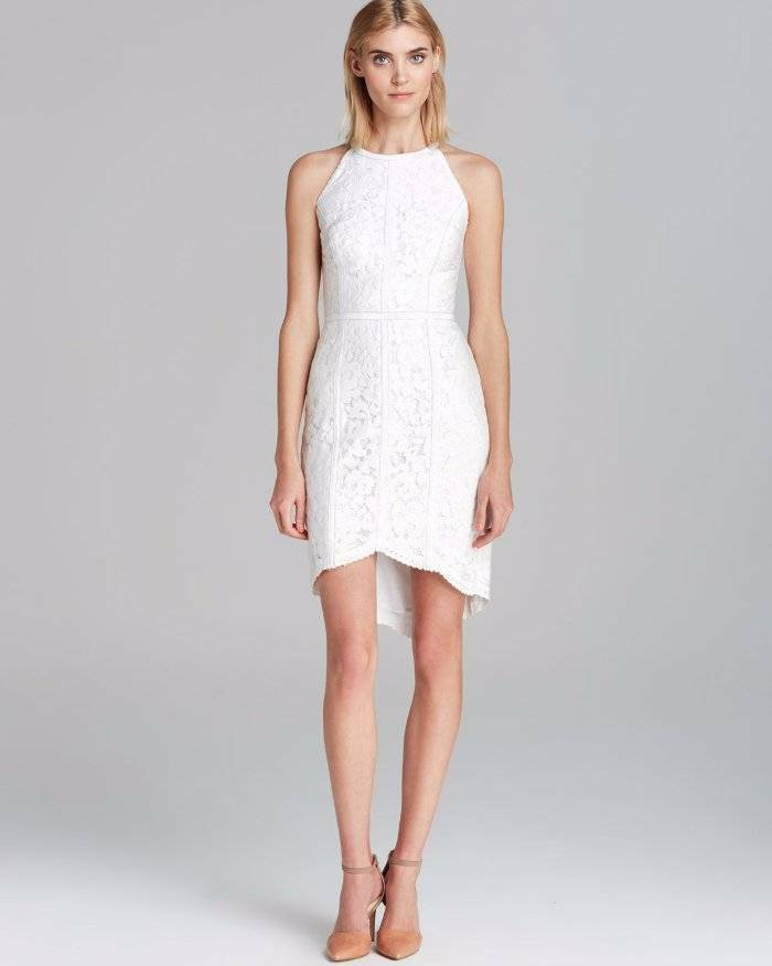 Cynthia Steffe Ryder Lace & & & Leather Halter Style Dress  Off-White 6  325 d2db39