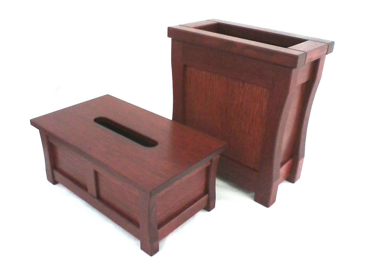 Duo wooden trash can and tissue box holder. Mission style. Oak. NEW  TE-1366