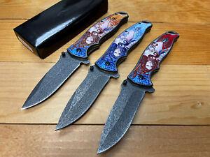 """8.5""""    GODDESS 3D Plating Spring Assisted Folding Pocket Knife Blade Alum hand"""