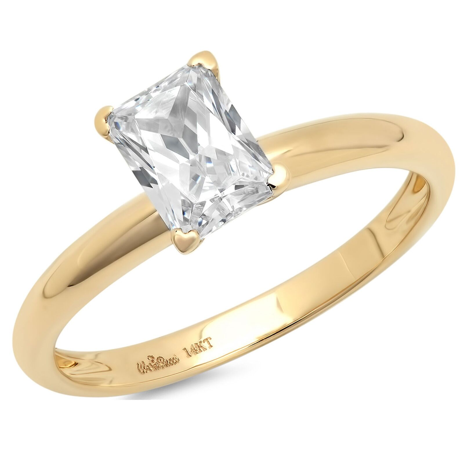 1.2ct Emerald Cut Wedding Bridal Engagement Anniversary Ring 14k Yellow gold