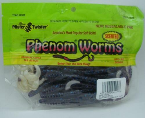 "Mister Twister 6P20-131PBS Phenom Worms 6/"" Grape BlueFlake White Tail 20CT 24040"