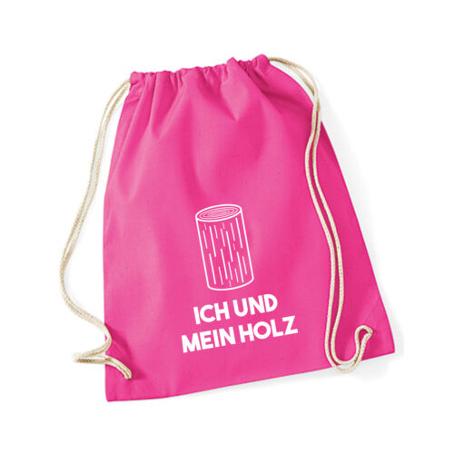 """Baumwoll Turnbeutel mit Spruch Motiv /"""" Ich und mein Holz /"""" Jute Tasche Gym Bag"""