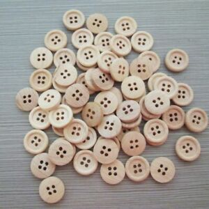 pattern-Wood-Buttons-4-Holes-Sewing-15mm-18mm-25mm-Craft-Lots-50pcs-DIY