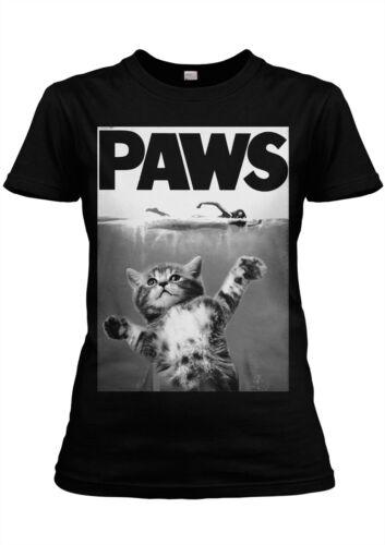 PAWS Girlie T-Shirt Tee Jaws Shark Cat Kitten Parody Movie Poster Weisser Hai