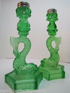 Image Is Loading Old Pair Green Depression Glass Dauphin Koi Fish