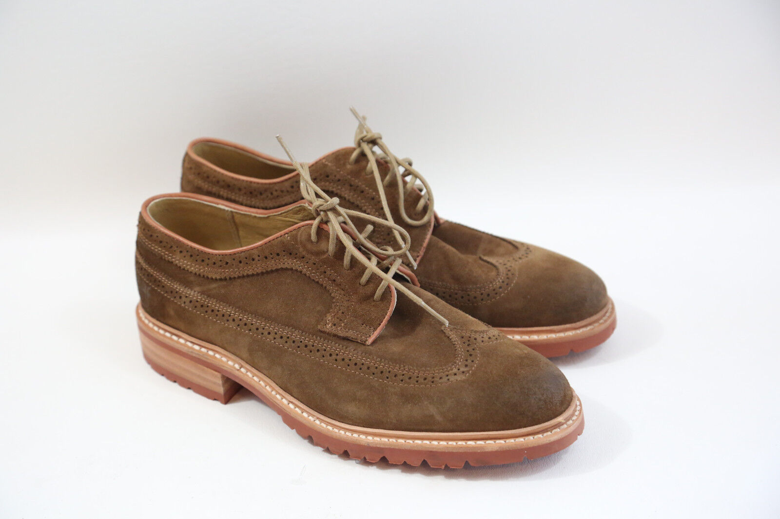 FRYE Men's Suede Wing Tip Oxford Shoes Size 8.5 D  MADE IN MEXICO