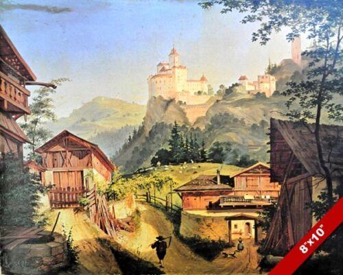 VIEW OF TROTSBURG CASTLE AUSTRIA ALPS LANDSCAPE PAINTING ART REAL CANVAS PRINT